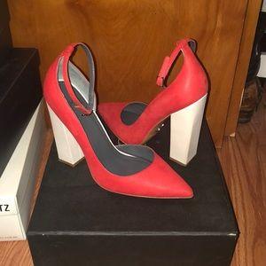 Monika Chiang Zimba D'Orsay block chunky heels